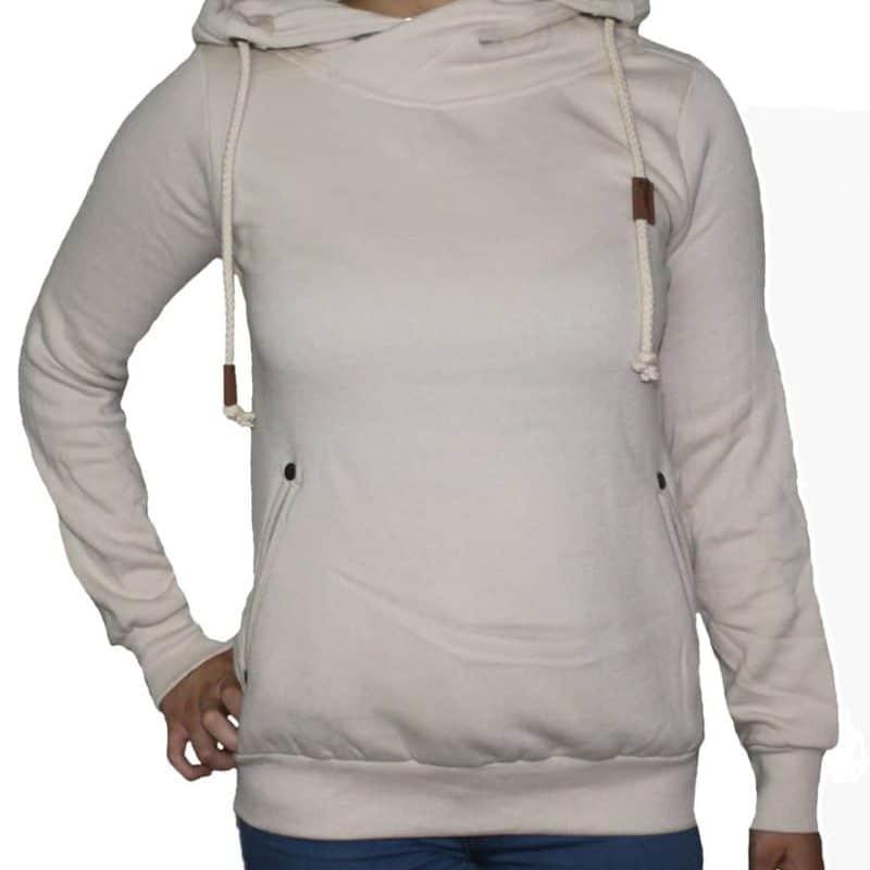 Sublevel pulóver női, hoodie soft beige