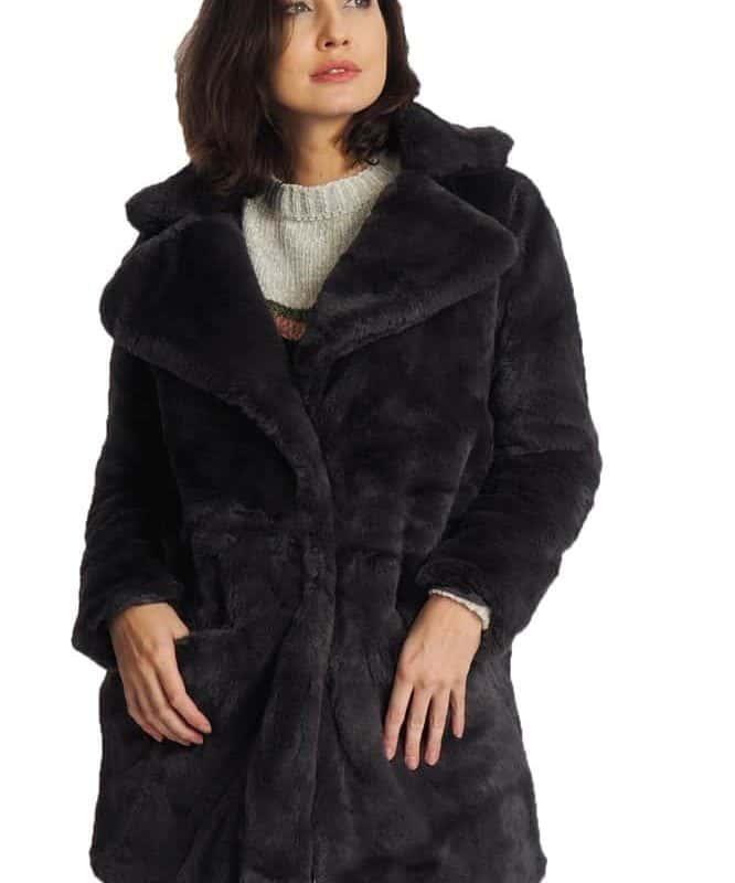 Sublevel kabát női plüss dark grey