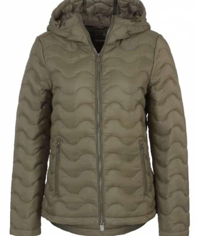 Fresh Made kabát női hullámsteppelt dusty olive, M