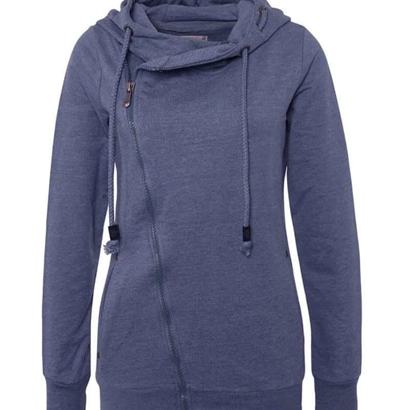 Sublevel pulóver női, ferde cipp, middle blue