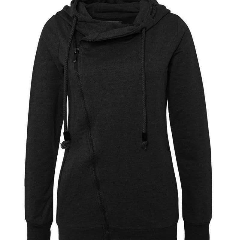 Sublevel pulóver női, ferde cipp, black