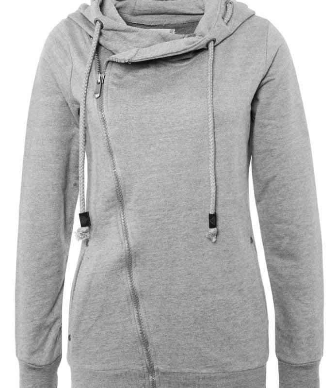 Sublevel pulóver női  ferde cipp, light grey
