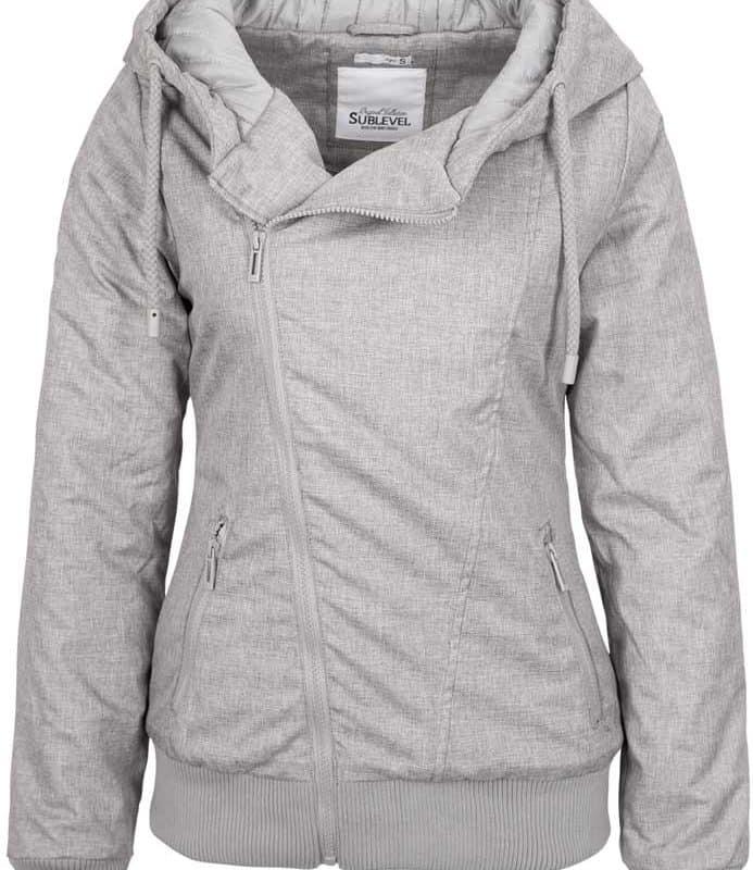Sublevel kabát női ferde cipp, light grey, M