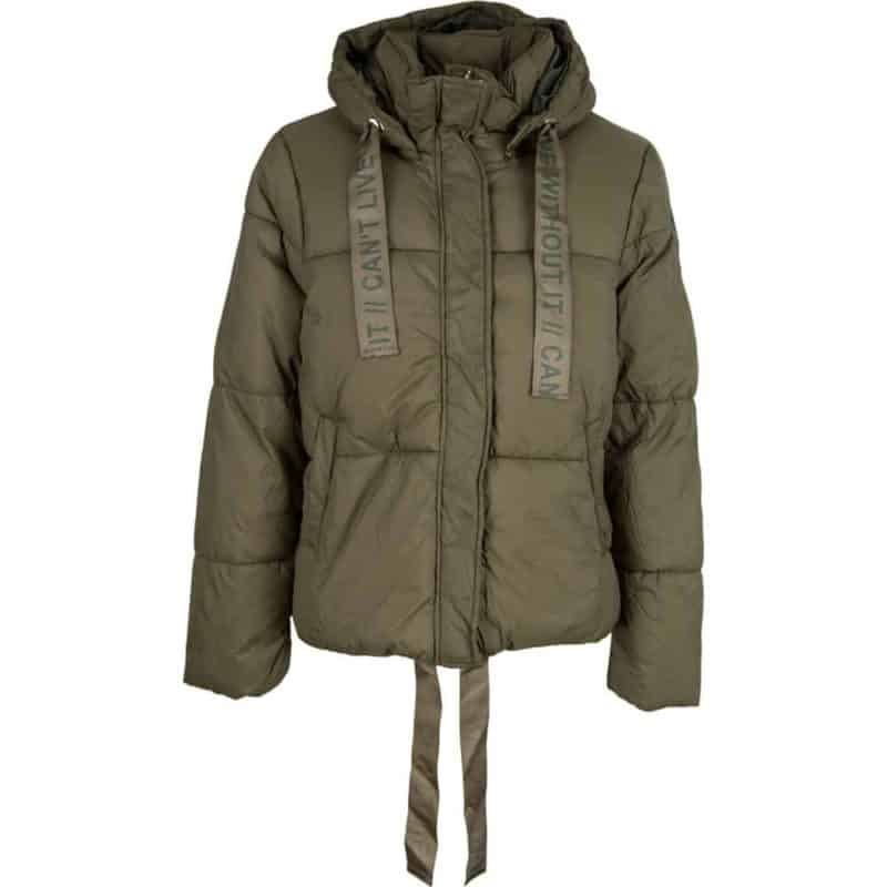 Stitch&Soul kabát női steppelt, rövid dark green, L