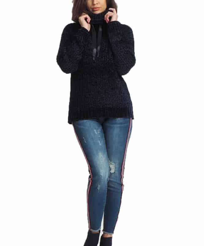 Stitch&Soul pulóver női, (Germany) velvet hoodie,  dark blue, M