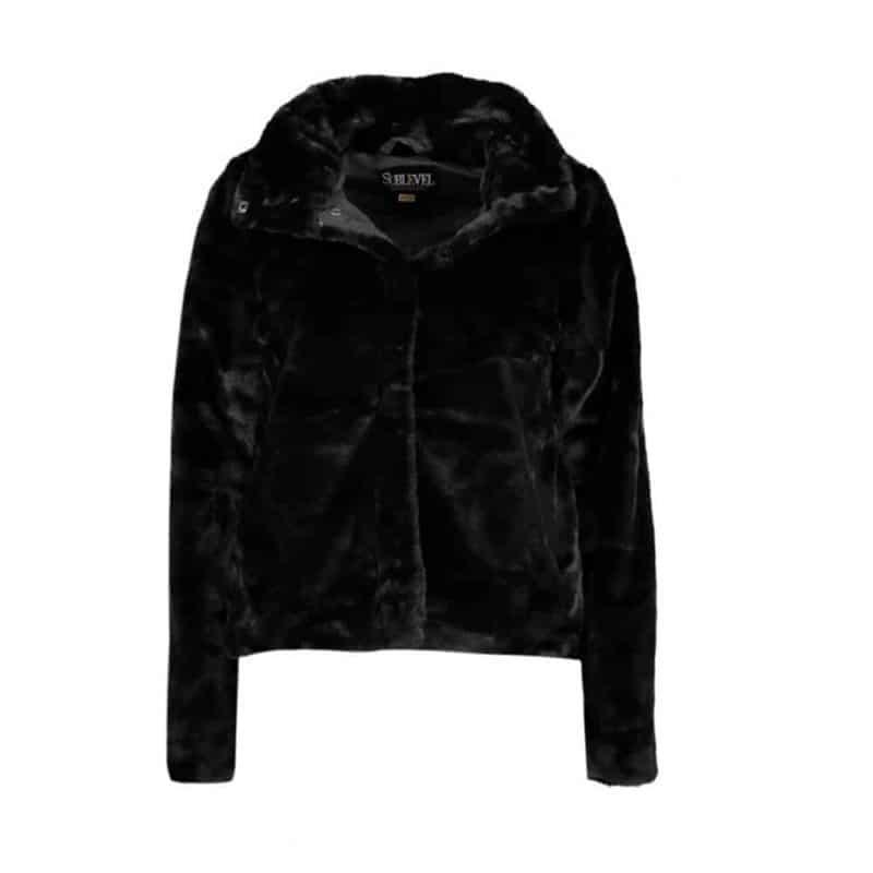 Sublevel kabát női rövid plüss black, L