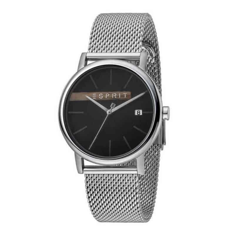 Esprit ES1G047M0055 Timber Black Silver Mesh Mens Watch
