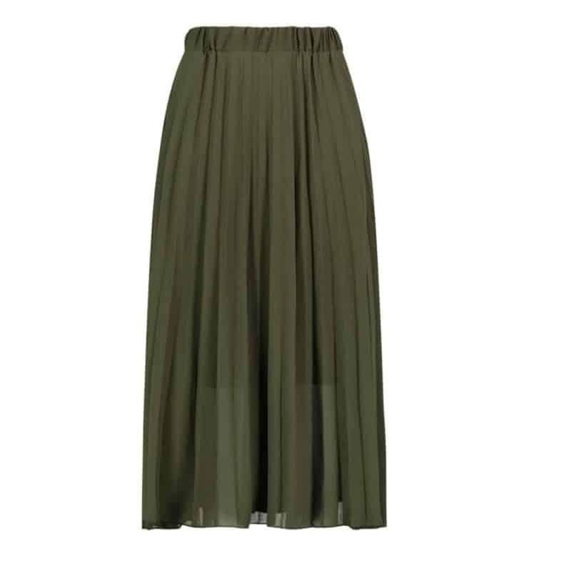 Sublevel szoknya női rakott, plissee , chiffon, dark green