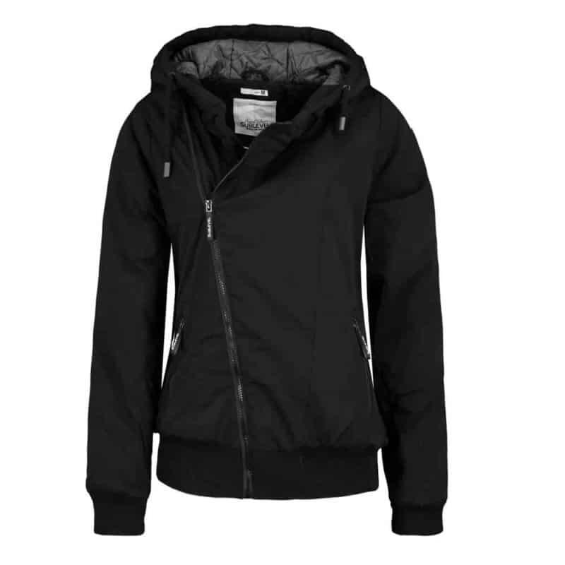 Sublevel kabát női, ferde cipp, microfaser, black