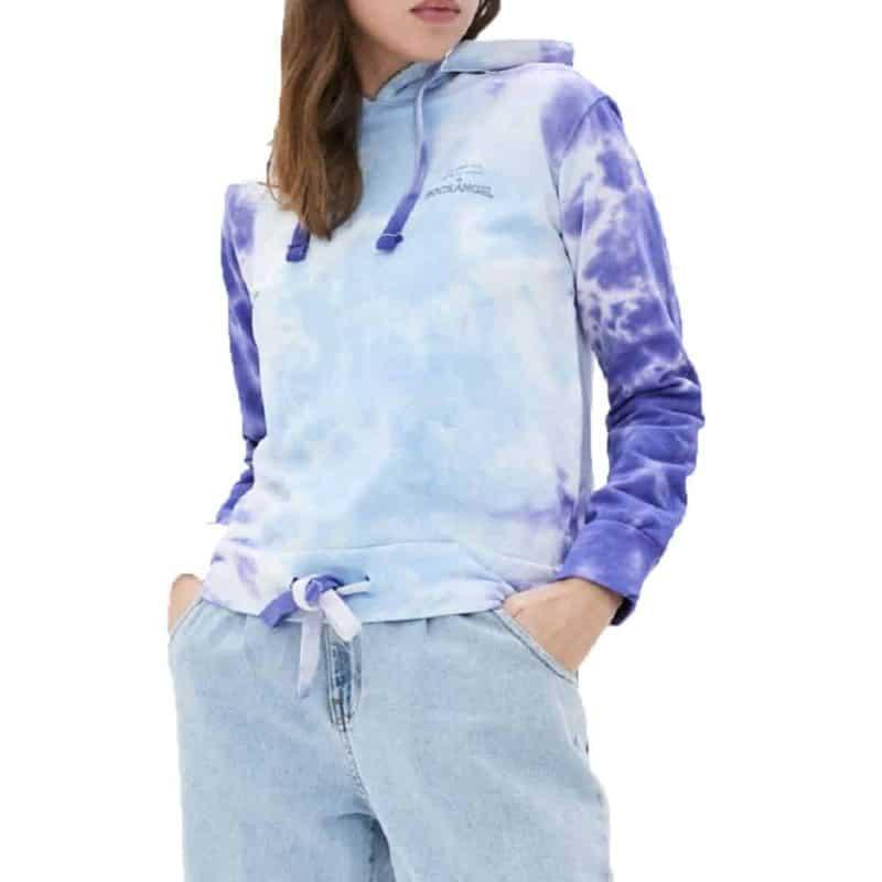 Rock Angel pulóver, női batikolt hoodie, middle blue